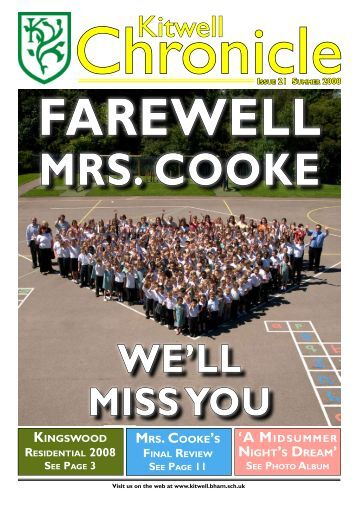 Issue 21 - WE'LL MISS YOU - Kitwell Primary School