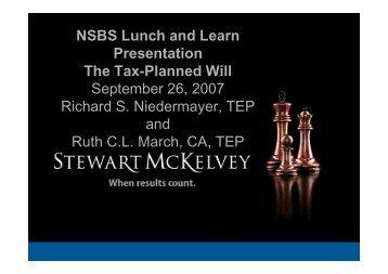 Tax Planned Will - Stewart McKelvey