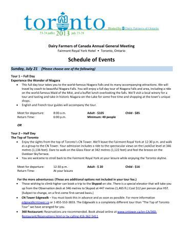 Schedule of Events - Dairy Farmers of Ontario