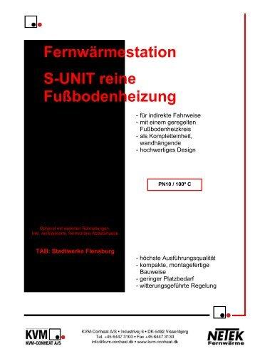 Fernwärmestation S-UNIT reine Fußbodenheizung - KVM-Conheat