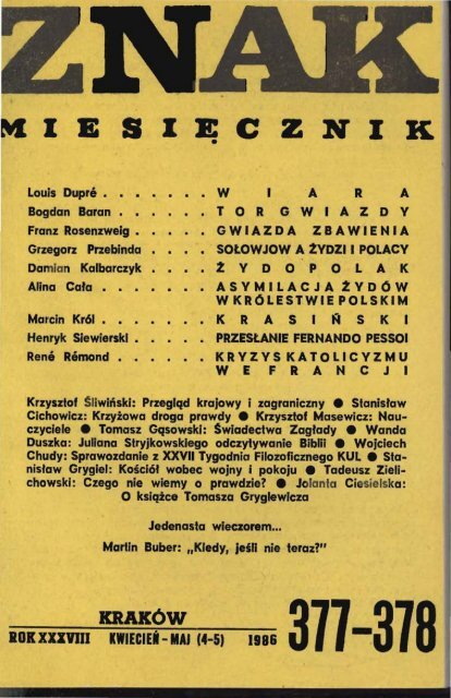 Nr 377 378 Kwiecieå Maj 1986 Znak