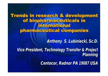 Trends in research & development of biopharmaceuticals in ...