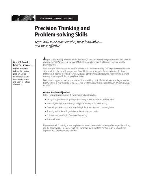 Precision Thinking and Problem-solving Skills - SkillPath