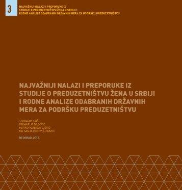Nalazi i preporuke iz studije o preduzetnistvu zena u Srbiji i rodne ...