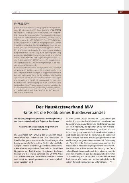 Nachgefragt - Kassenärztliche Vereinigung Mecklenburg-Vorpommern
