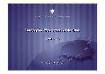 Europejska Współpraca Terytorialna 2014-2020 Europejska ...