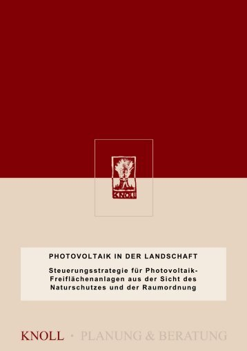 Knoll T., Groiss M. (2011): Photovoltaik in der - Knollconsult