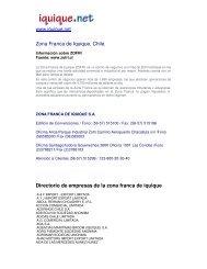 Zona Franca de Iquique. Chile. Directorio de empresas ... - Iquique.net