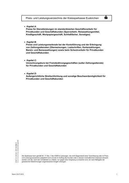 Preis Und Leistungsverzeichnis Der Kreissparkasse Euskirchen