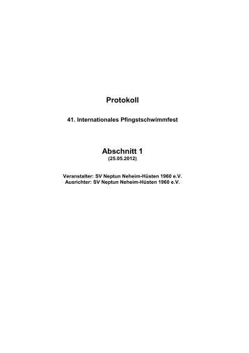Protokoll Abschnitt 1 - Schwimmverein Neptun Neheim-Hüsten 1960 ...