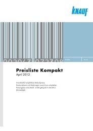 Knauf Preisliste Kompakt, April 2012