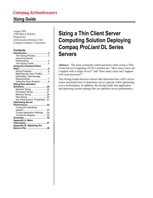Sizing a Thin Client Server Computing Solution