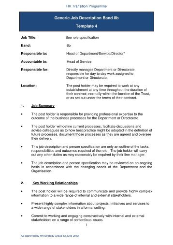 Generic Job Description Band 8b Template 4 - NHS Manchester