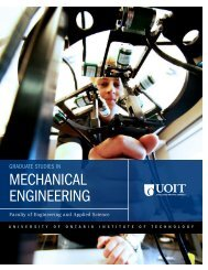 mechanical engineering - University of Ontario Institute of Technology