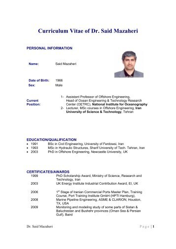 curriculum vitae of dr said mazaheri