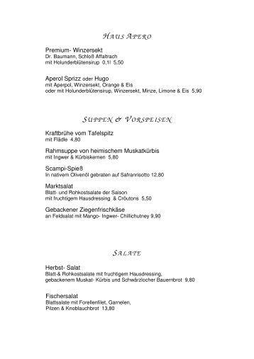 Speisekarte - Hotel Restaurant Kreuzberg