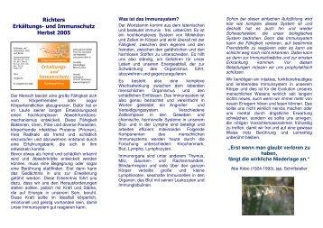Richters Erkältungs- und Immunschutz Herbst 2005 - Urs Drogerie