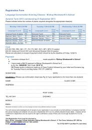 Evening Class Registration Form - Bishop Wordsworth's School