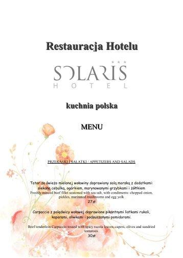 Restauracja Hotelu kuchnia polska - Hotel Solaris Toruń