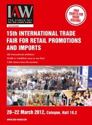 15th InternatIonal trade FaIr For retaIl ProMotIons and ... - IAW Messe
