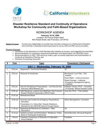 I. Workshop Agenda (PDF) - Fritz Institute