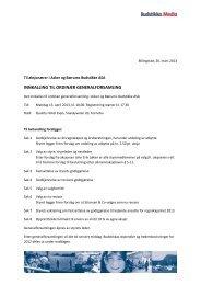 Innkalling til generalforsamling 2013 - Investor relations - Budstikka