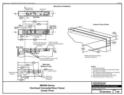 Rixson Model Mw608 Template And Installation Epivots
