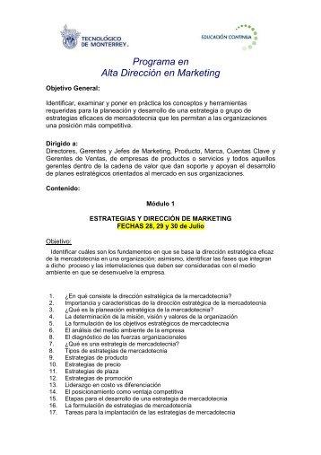Programa en Alta Dirección en Marketing