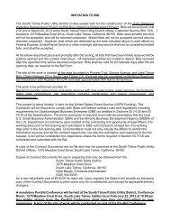 INVITATION TO BID The South Tahoe Public Utility District invites ...