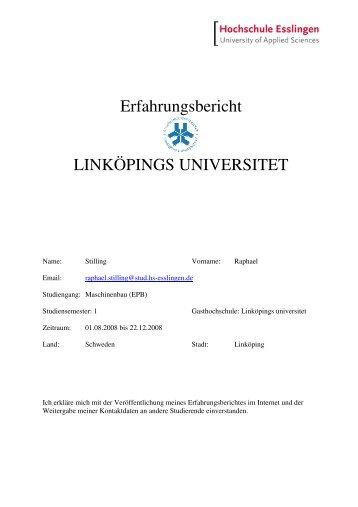 Erfahrungsbericht Linköping - Hochschule Esslingen