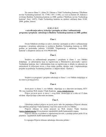 Odluka o utvrđivanju uslova, kriterija i postupka za izbor i ...