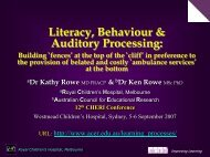 Literacy, Behaviour and Auditory Processing...(Part 2) - CHERI - The ...