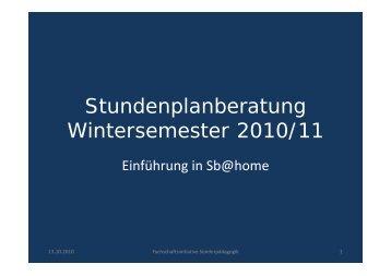 Stundenplanberatung Wintersemester 2010/11