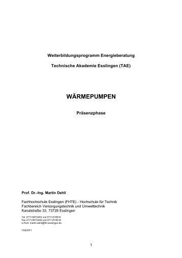 WÄRMEPUMPEN - Hochschule Esslingen