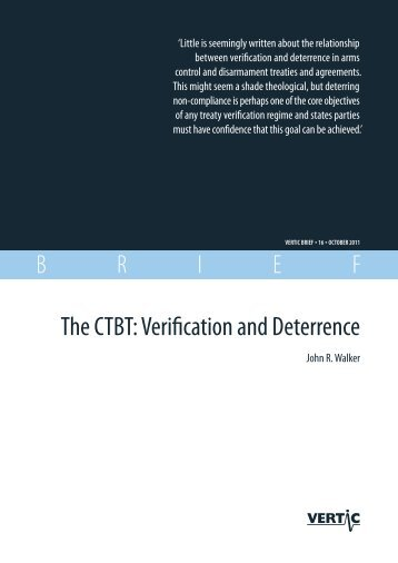 The CTBT: Verification and Deterrence - VERTIC