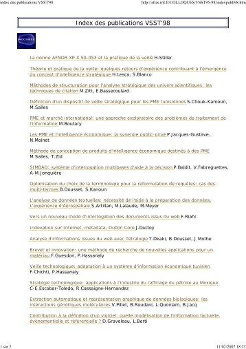 index des publications VSST'98