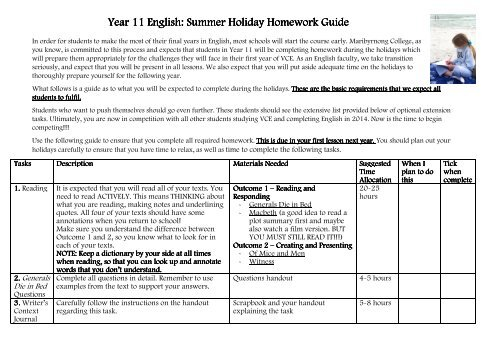 maribyrnong vce holiday homework