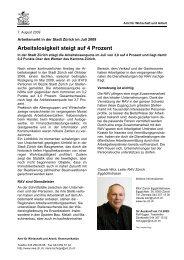 Stadt Zürich August 2009 (PDF, 37 kB) - Amt für Wirtschaft und Arbeit