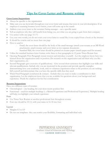 Sample psychology intern cover letter pepperdine university for Tips for writing a cover letter for an internship