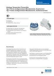 Analoge Temperatur-Transmitter Typ T19.10, konfigurierbare ...