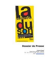 Dossier de Presse - La Semaine du Son
