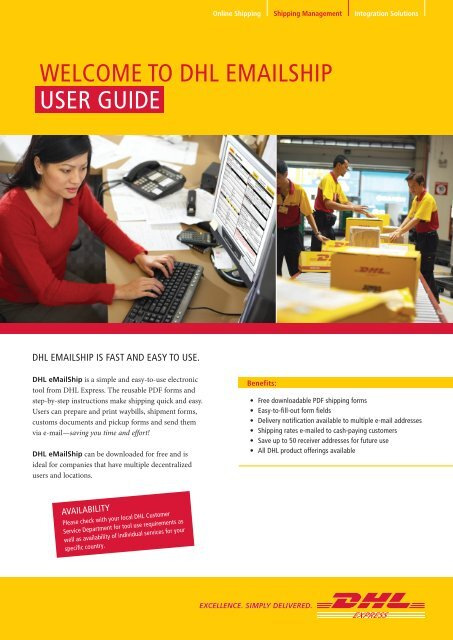 Dhl Pickup Locations >> Welcome To Dhl Emailship User Guide