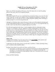 English 10 Course Description: 2011-2012 Ms. DiSarno and Mr ...