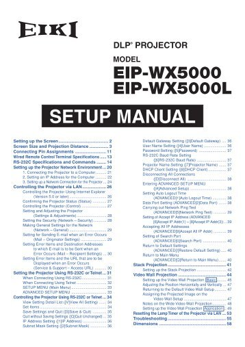 SETUP MANUAL - Eiki International Inc.