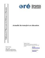 Actualité du transfert en éducation - UQAM
