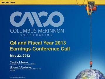 in millions - Columbus McKinnon Corporation