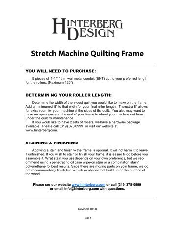 Hinterberg Quilt Frame Instructions ✓ Quilting