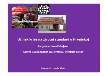 č ž Učinak krize na životni standard u Hrvatskoj