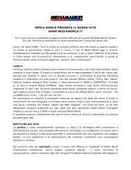 MEDIA WORLD PRESENTA IL NUOVO SITO WWW.MEDIAWORLD.IT