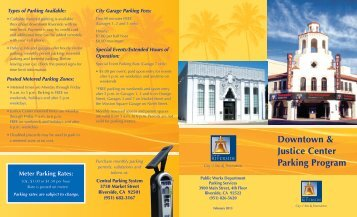 Downtown & Justice Center Parking Program - City of Riverside